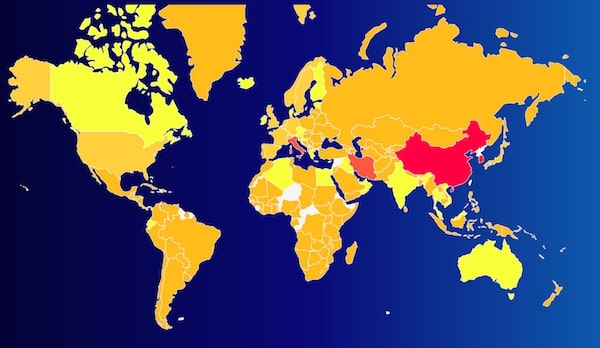 Carte de diffusion du coronavirus COVID-19